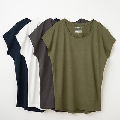 竹布(TAKEFU)竹のフレンチスリーブTシャツ(レディース)(NF19)