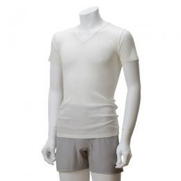竹布(TAKEFU)竹のテレコVネックシャツ